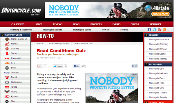 Road Conditions Quiz
